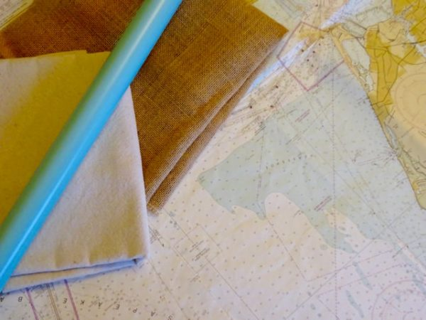 fabric map and roll of wrapping paper