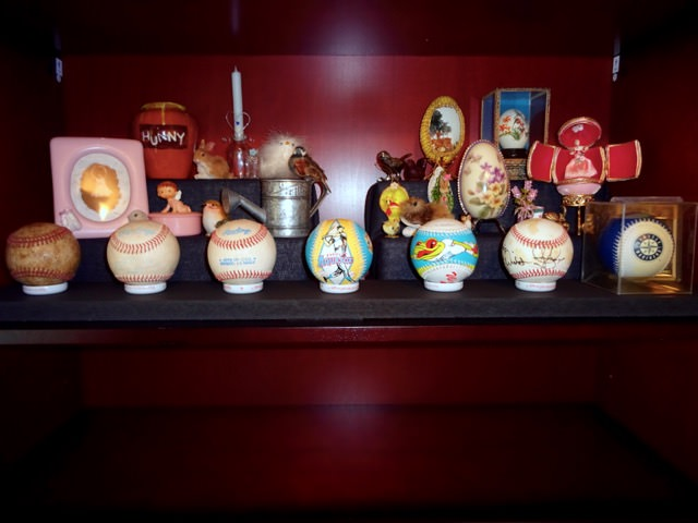 Collectibles displayed on a DIY display stand