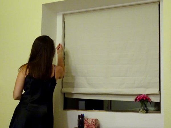 Drop cloth Roman shades