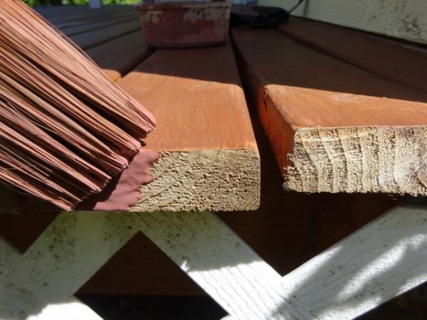 Applying weatherproofing product to ends of deck boards