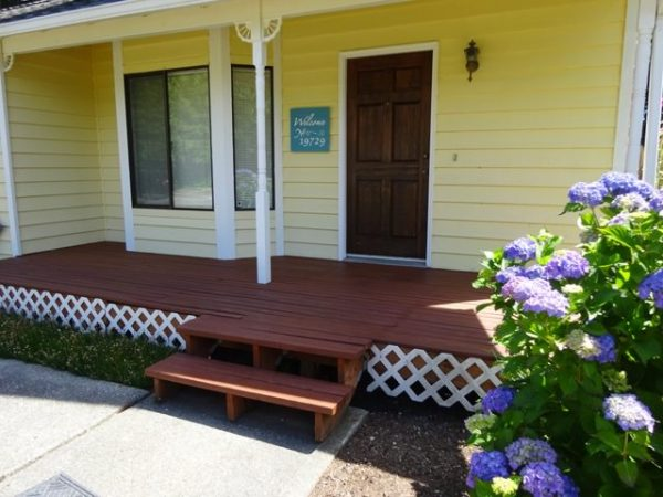 Stained front porch