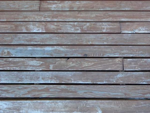 Weathered deck boards need stain