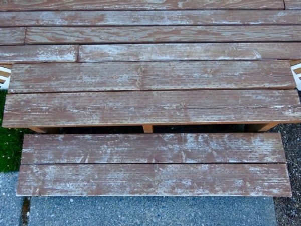 Weathered deck boards in need of stain