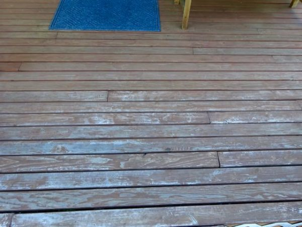 Weathered deck boards need to be refinished