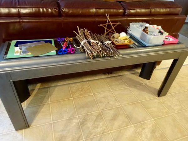 Craft night supply table