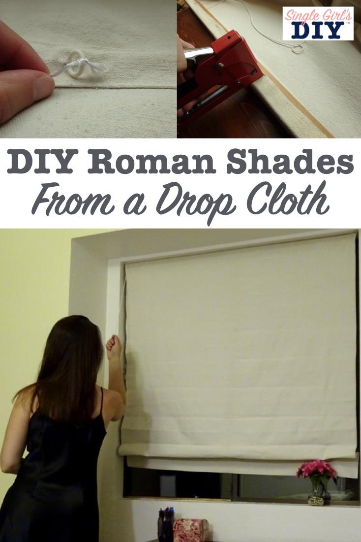 DIY Roman shades from a drop cloth