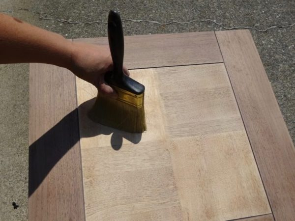 Dust off a sanded wood table