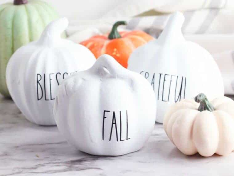Rae Dunn white pumpkins
