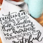 closeup image of fall tea towel