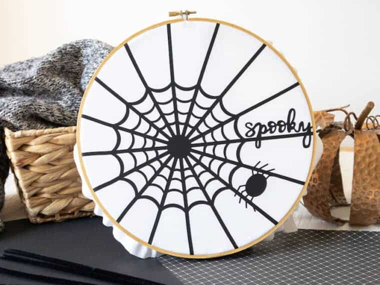 spider web in an embroidery hoop craft