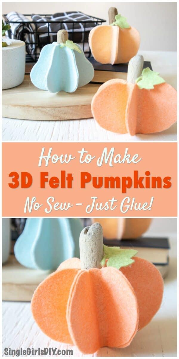 handmade felt pumpkins