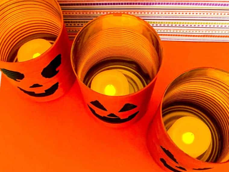 halloween tin can lanterns seen from above