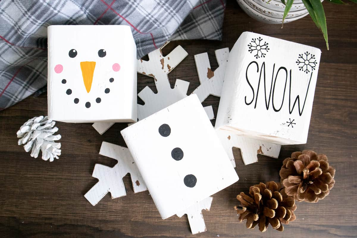painted wood block Snowman on table