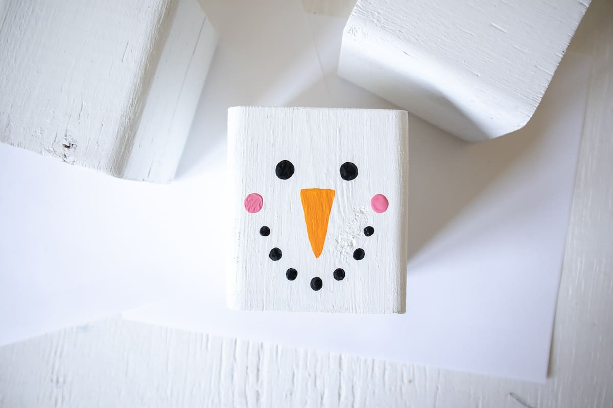 painted wood block Snowman face