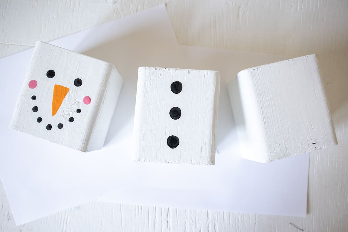 painted wood blocks with Snowman face and torso