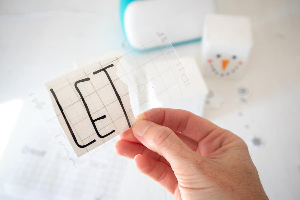 Snowman appliqué letters