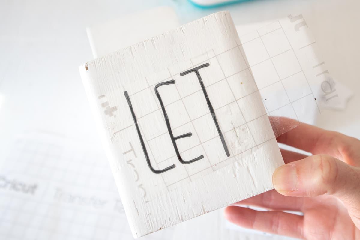 wood Snowman block with appliqué letters