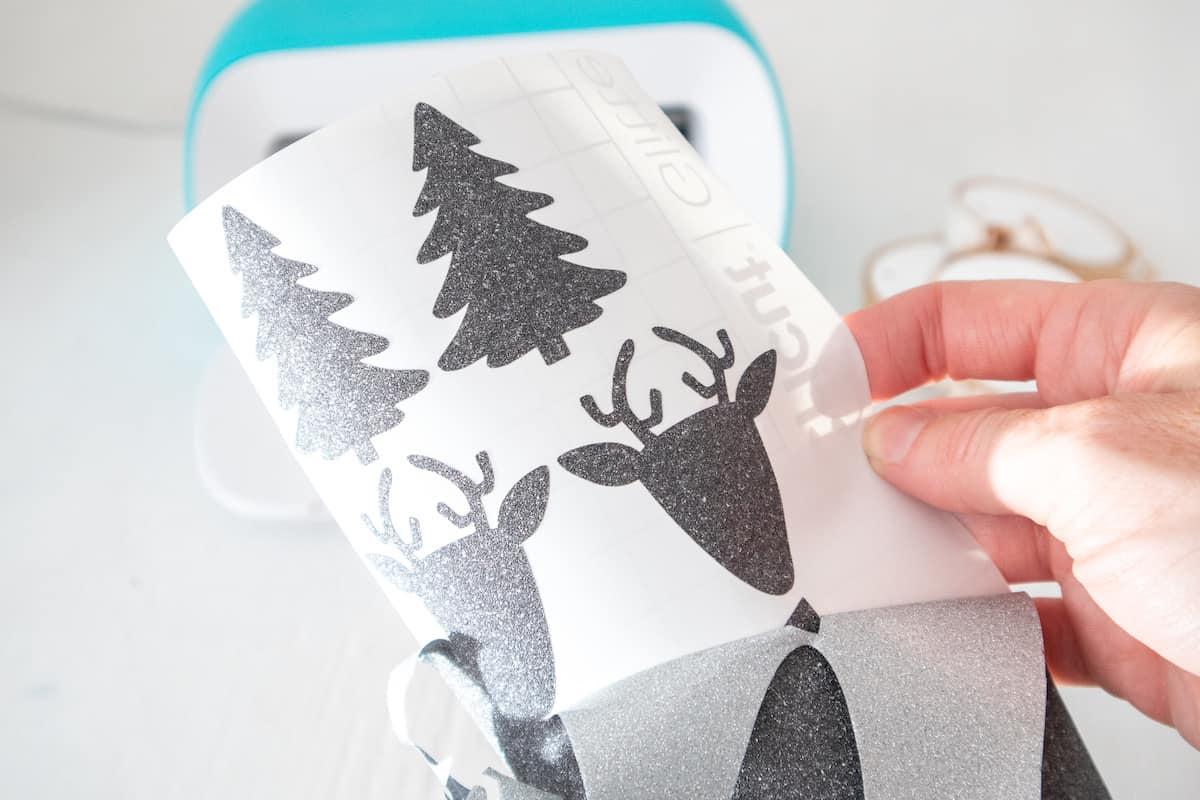 removing Glitter Vinyl reindeer stencil