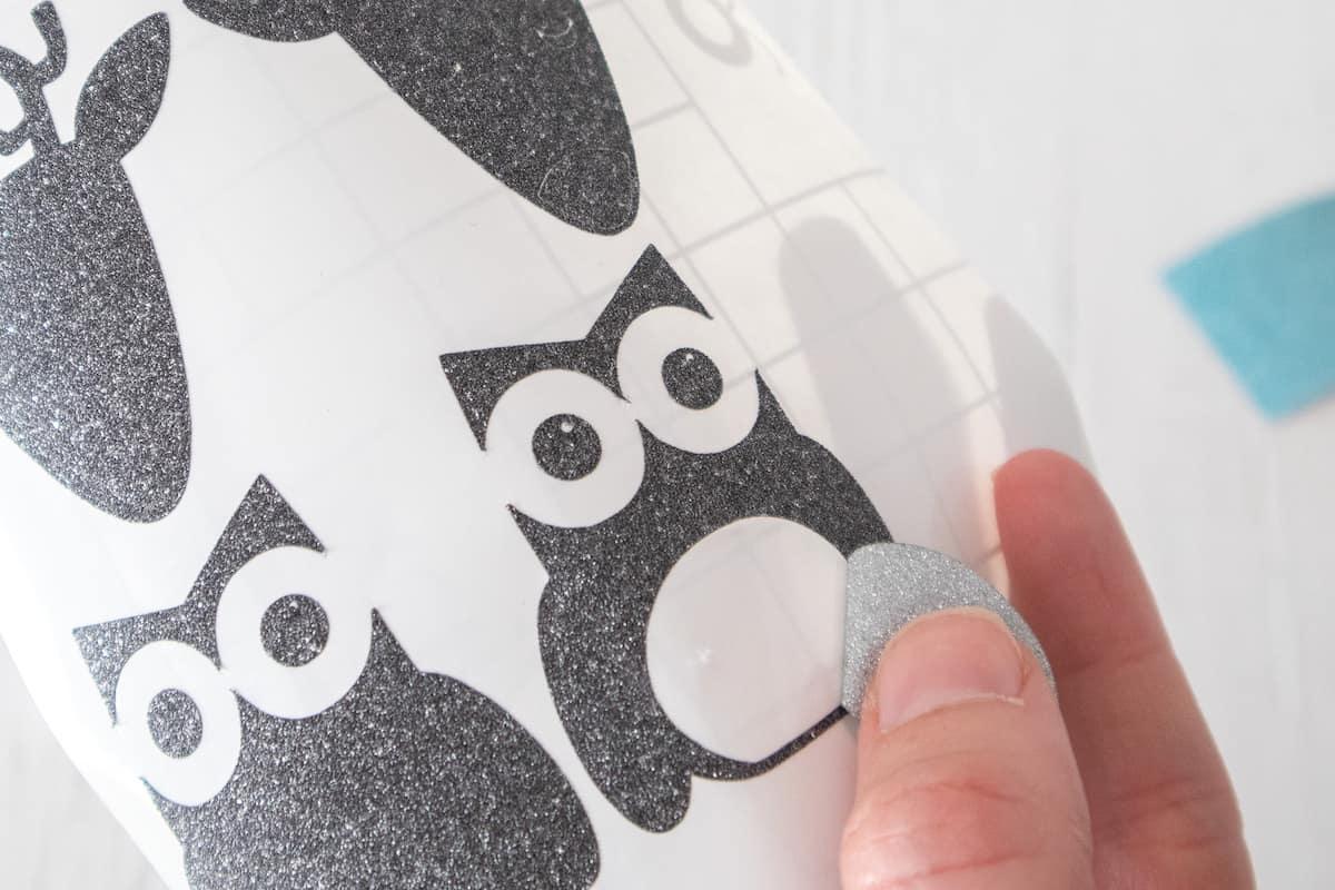 removing Glitter Vinyl Owl stencil