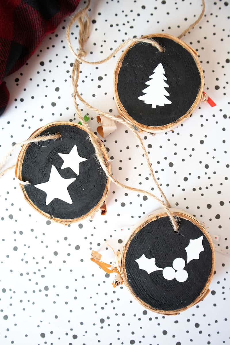 Lettered wood slice ornaments with black paint