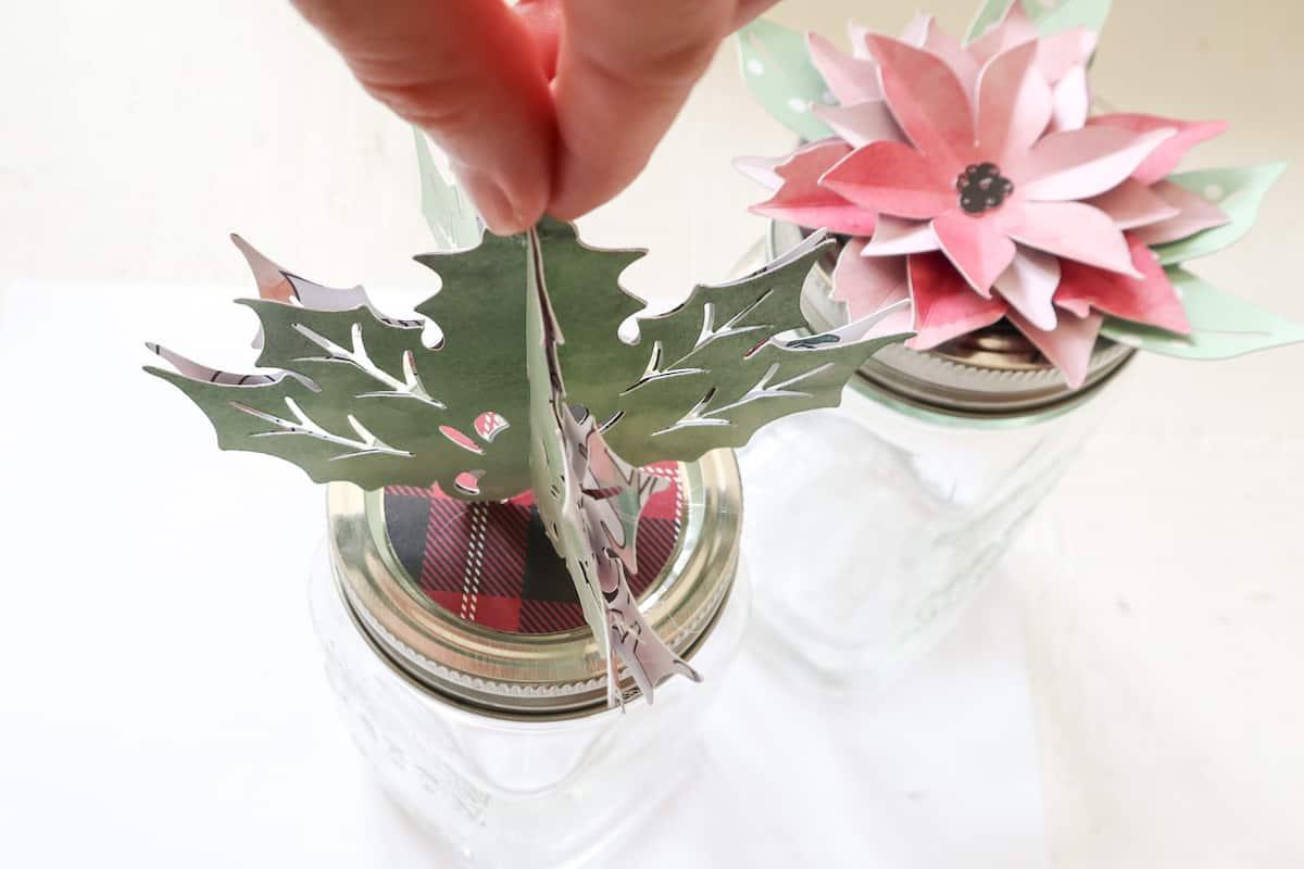 3d holly leaf mason jar topper