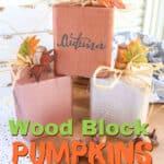 wood block pumpkins in fall colors
