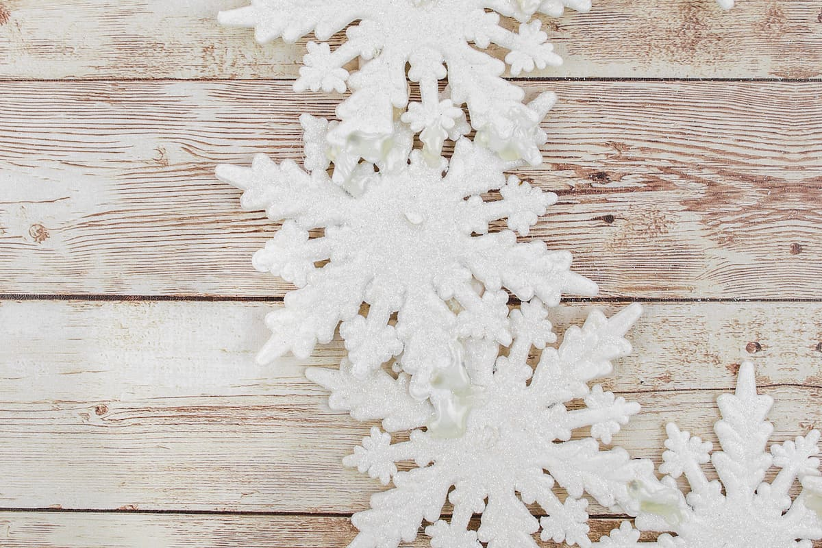 gluing snowflake ornaments together