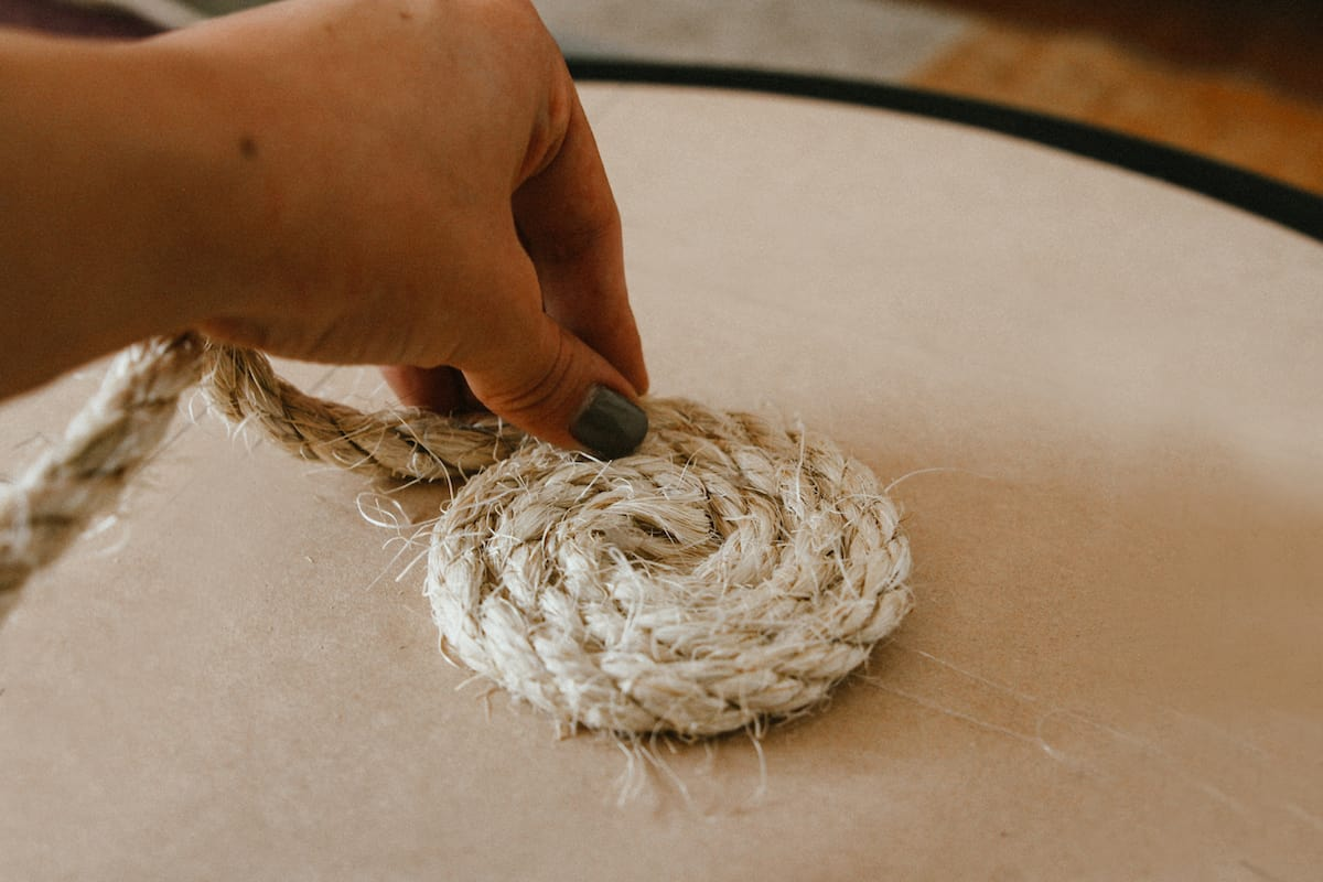 gluing rope into a coil