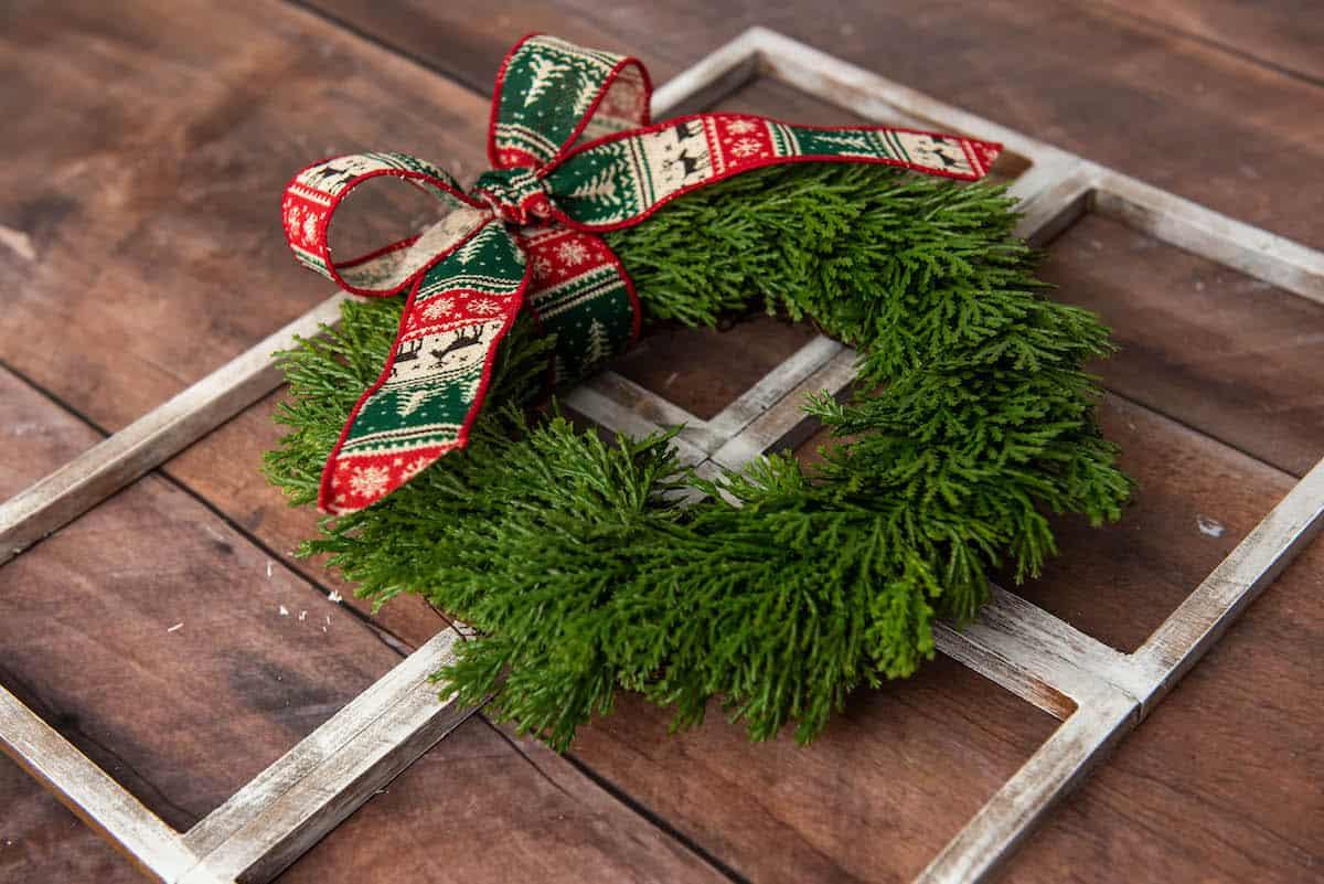 Christmas wreath on a faux window