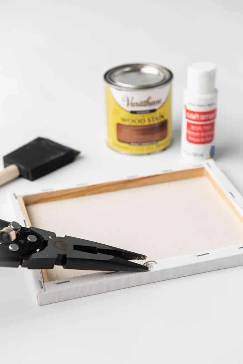 taking staples out of canvas frame