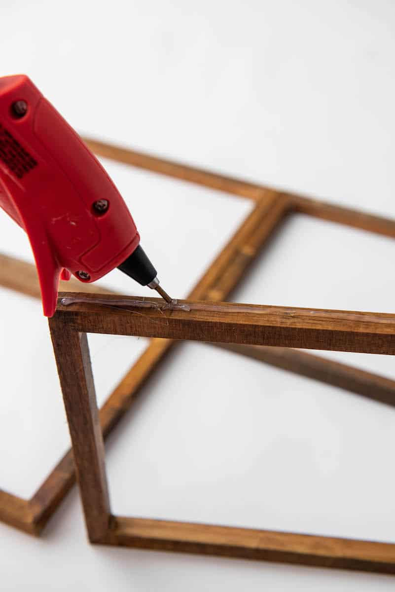 hot glueing wooden frames together