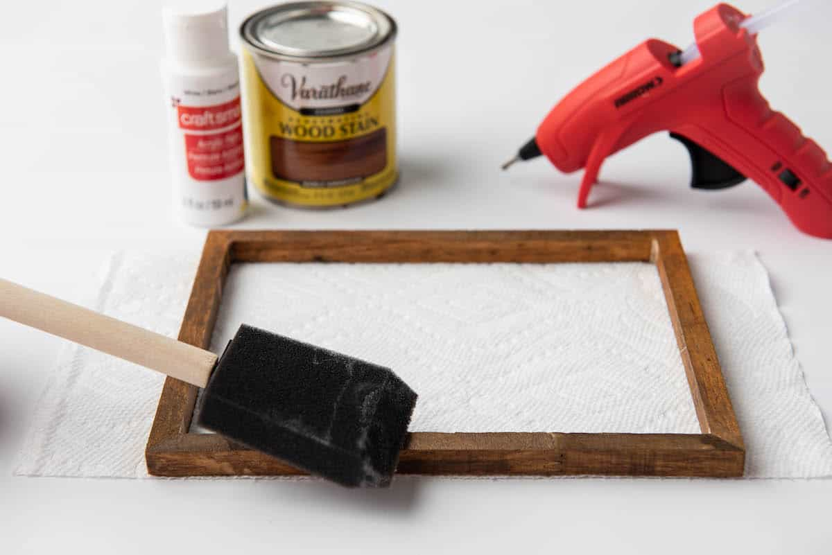 staining wood frame
