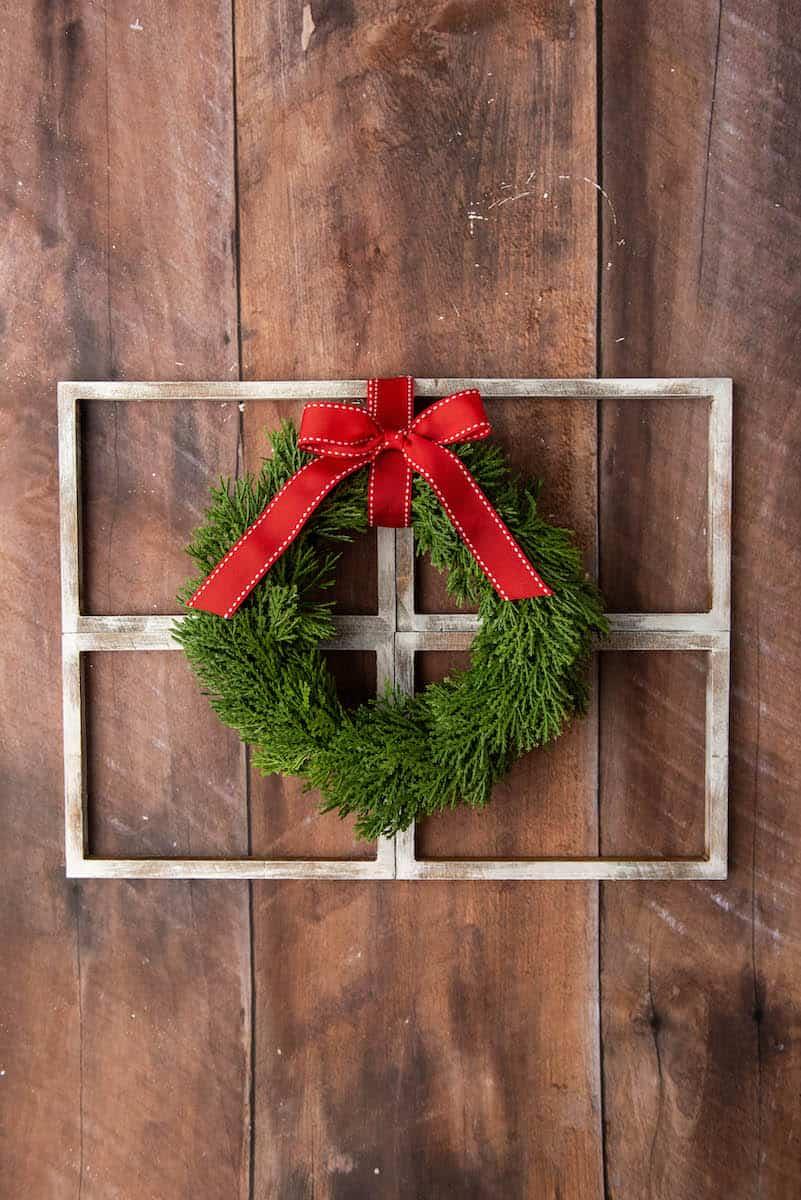 wreath on a faux window