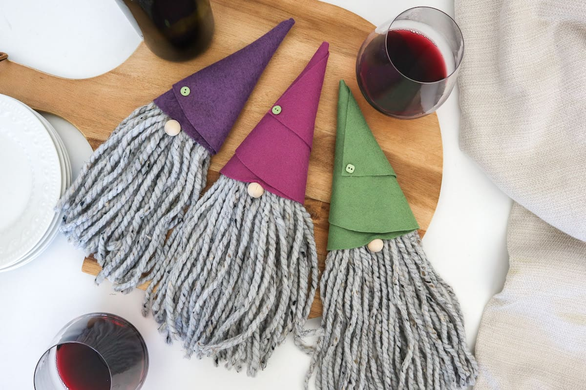 DIY Gnome Wine Bottle Toppers