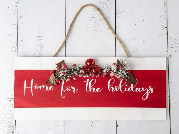 Home for the Holidays wooden sign decoration