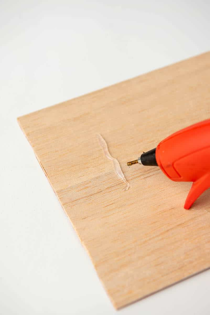 hot glue gun on wood
