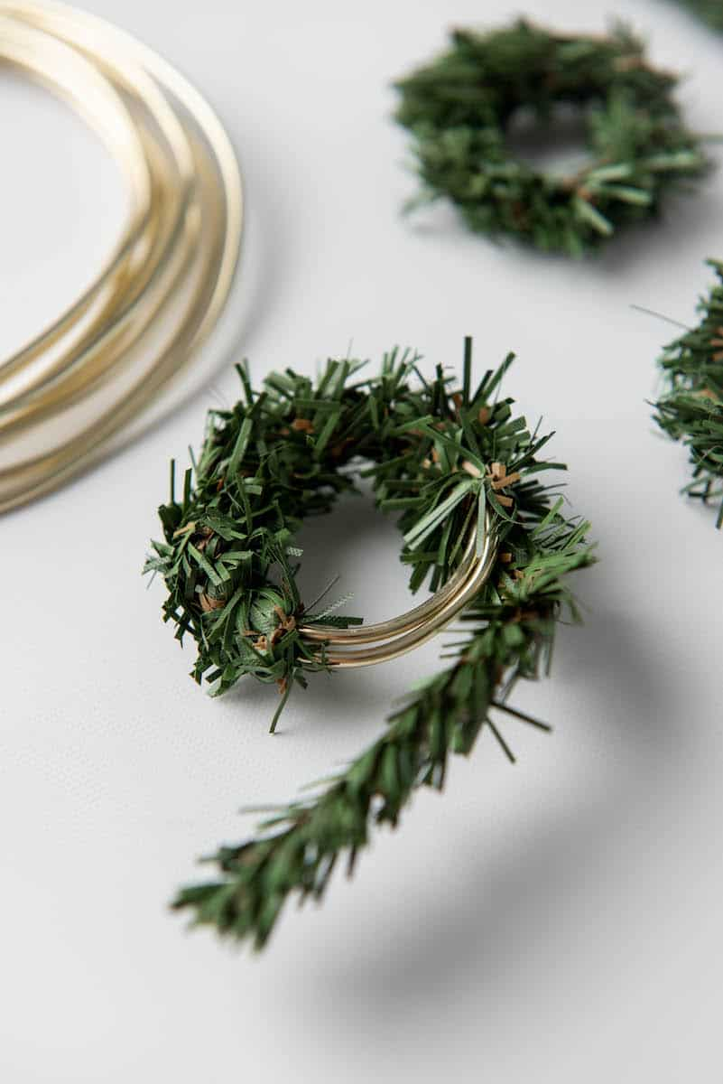 making Christmas ornament wreath