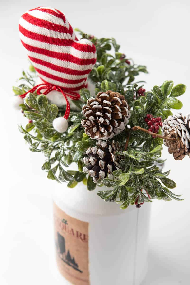 Christmas floral arrangement with pinecones