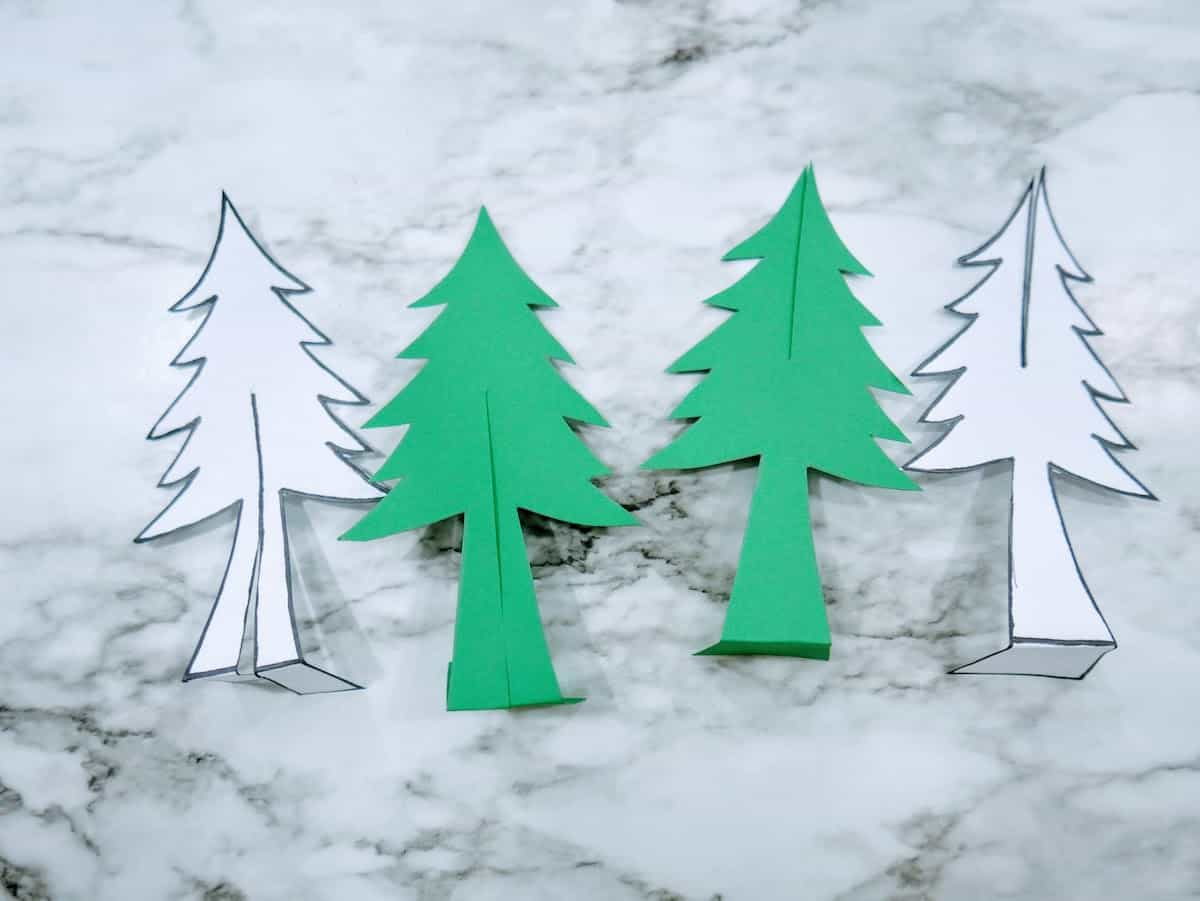 Paper Christmas Trees for Snow Globe