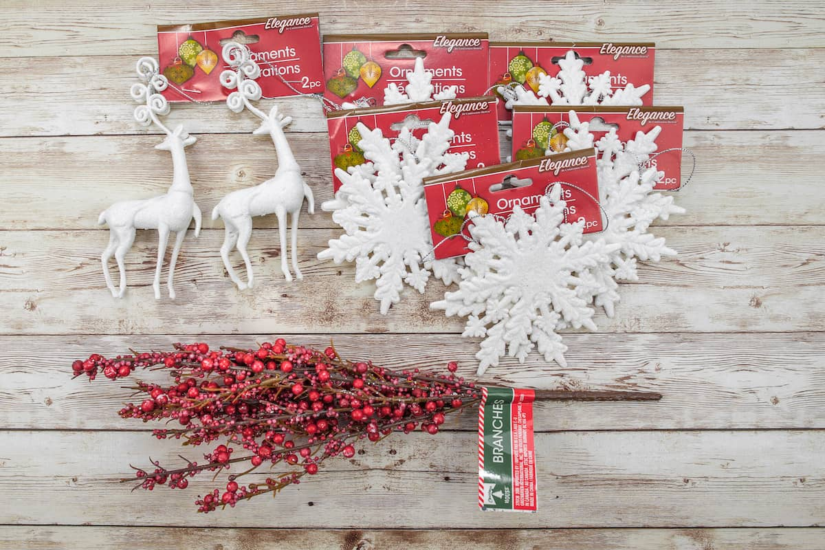 dollar store supplies to make a Christmas wreath