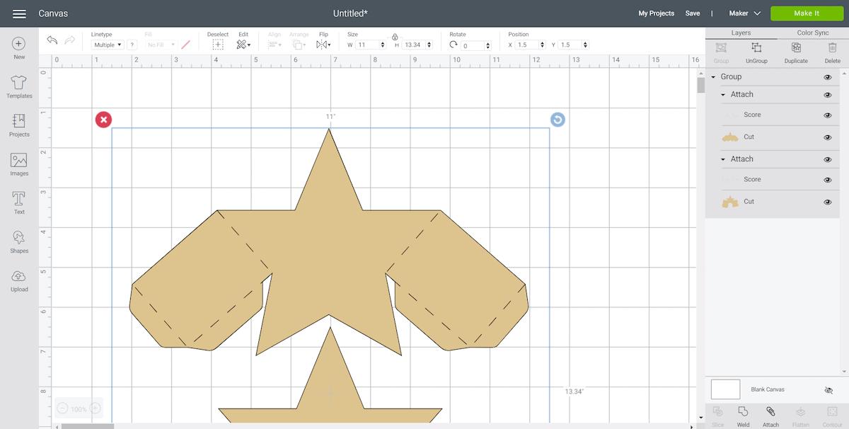 Cricut Design Space Screen for DIY Star Foldable Gift Box