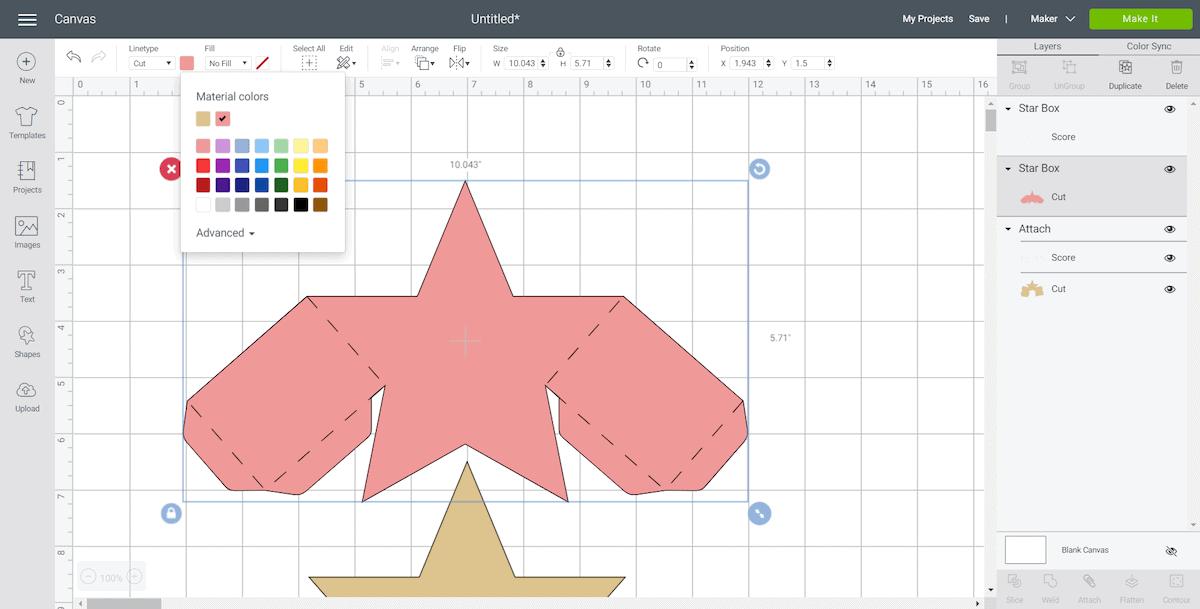Cricut Design Space Screen for DIY Star Gift Box Cut Out