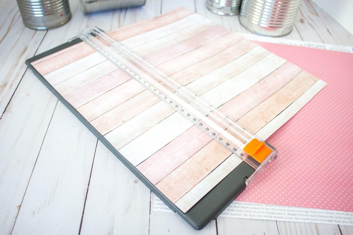 Cutting Scrapbook Paper in Cutter