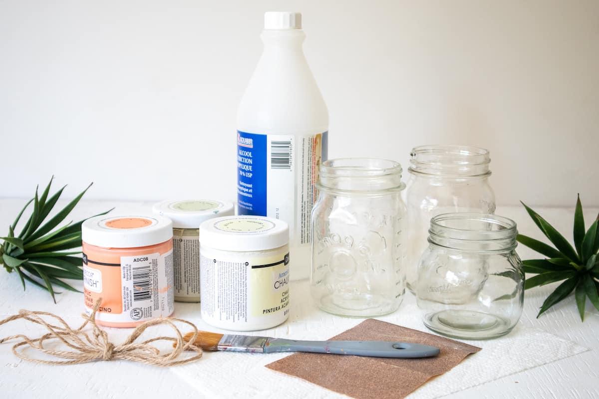 DIY Chalky Painted Mason Jars Supplies