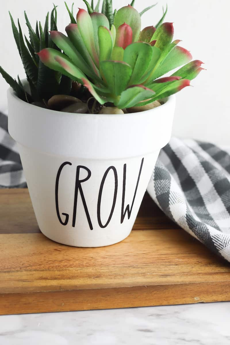 DIY Planter with word GROW on front