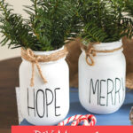 mason jar Christmas centerpieces with greenery