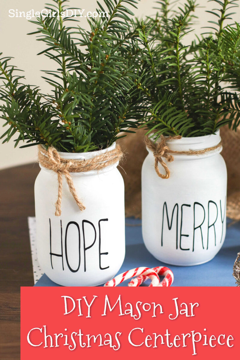 mason jar Christmas centerpieces with greenery