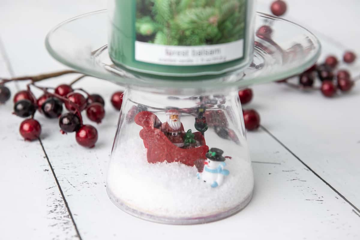 homemade snowglobe Candle Holder with Candle