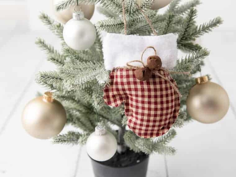 rustic Farmhouse Mittens Ornament on Christmas tree