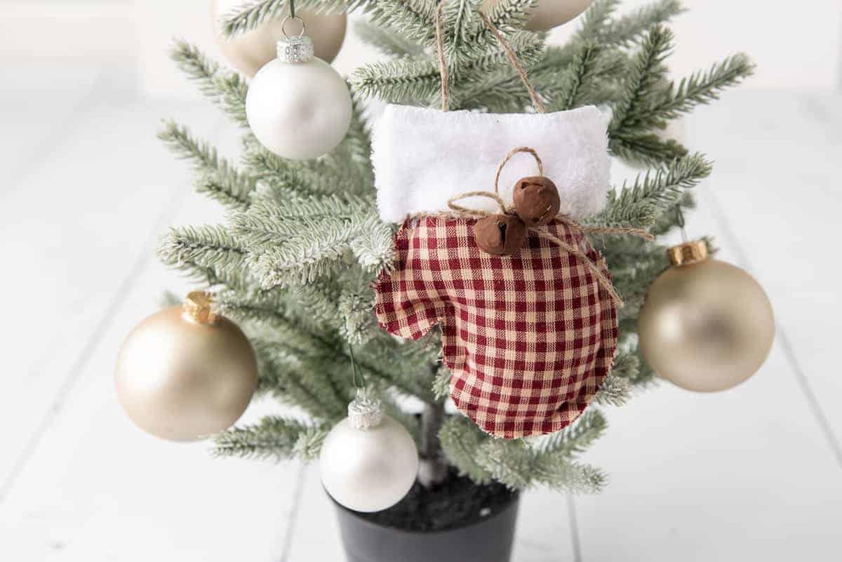 rustic Farmhouse Mittens Ornament on Christmas tree